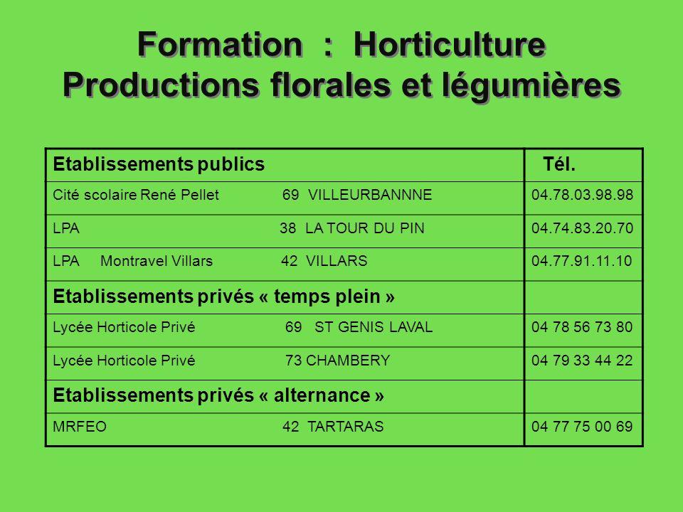 Formation : Horticulture Productions florales et légumières Etablissements publics Tél. Cité scolaire René Pellet 69 VILLEURBANNNE04.78.03.98.98 LPA 3
