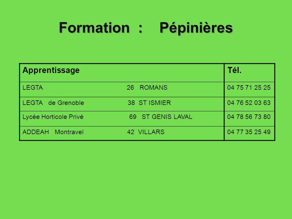 Formation : Pépinières ApprentissageTél. LEGTA 26 ROMANS04 75 71 25 25 LEGTA de Grenoble 38 ST ISMIER04 76 52 03 63 Lycée Horticole Privé 69 ST GENIS