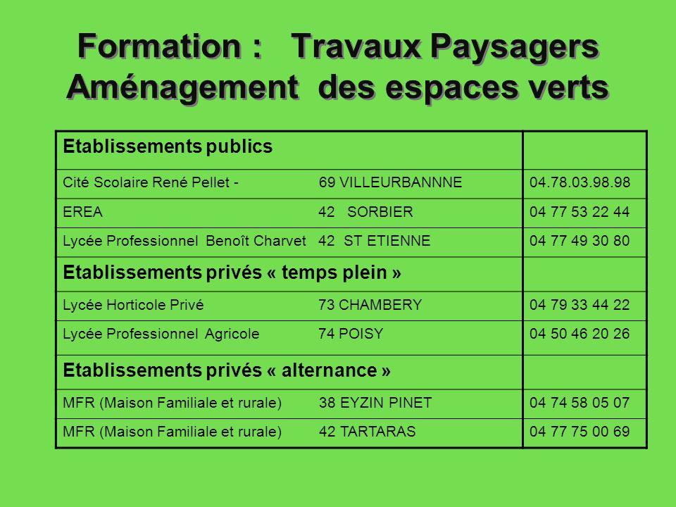 Formation : Travaux Paysagers Aménagement des espaces verts Etablissements publics Cité Scolaire René Pellet - 69 VILLEURBANNNE04.78.03.98.98 EREA 42