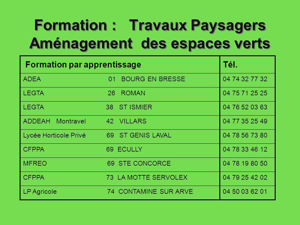 Formation : Travaux Paysagers Aménagement des espaces verts Formation par apprentissageTél. ADEA 01 BOURG EN BRESSE04 74 32 77 32 LEGTA 26 ROMAN04 75
