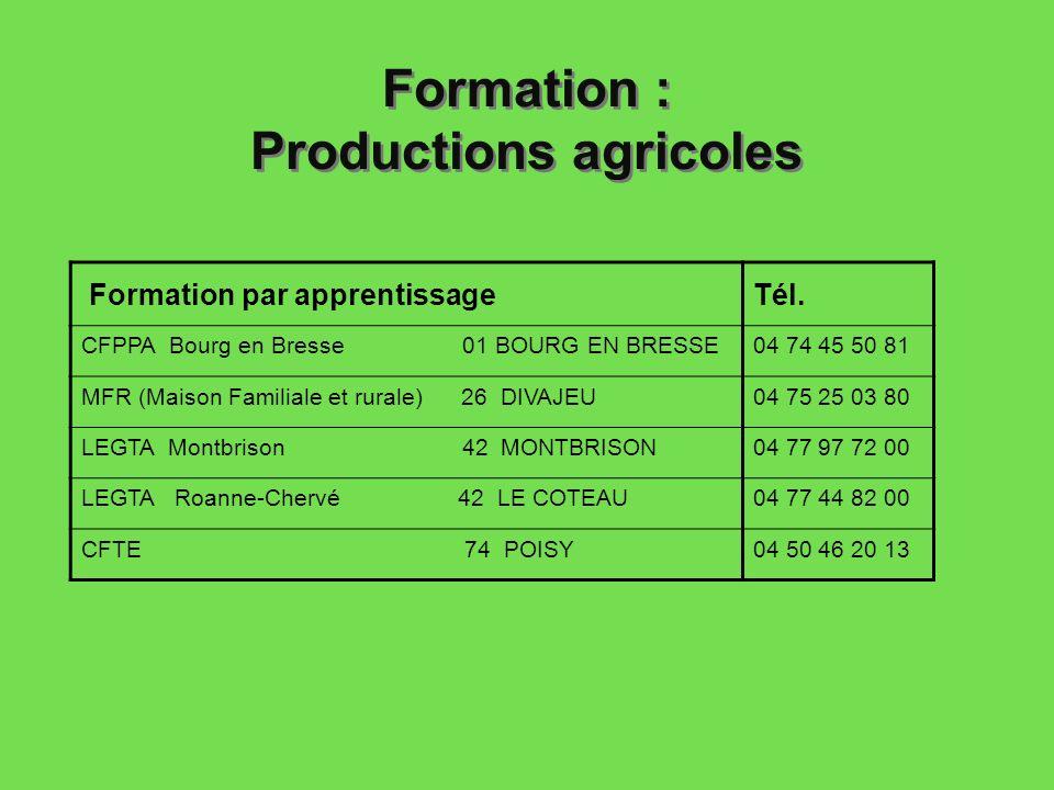 Formation : Productions agricoles Formation par apprentissageTél. CFPPA Bourg en Bresse 01 BOURG EN BRESSE04 74 45 50 81 MFR (Maison Familiale et rura