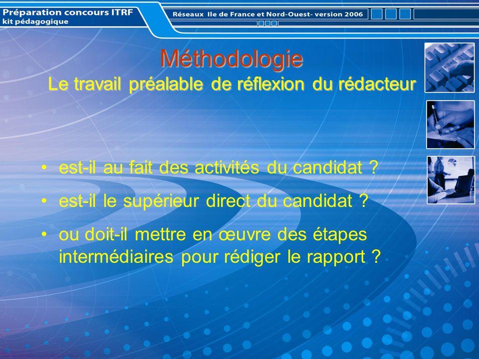Méthodologie Le travail préalable de réflexion du rédacteur est-il au fait des activités du candidat .