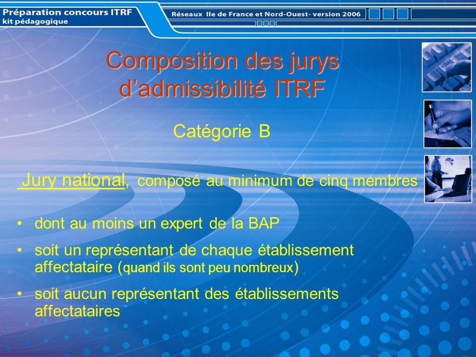 Composition des jurys dadmissibilité ITRF Catégorie B Jury national, composé au minimum de cinq membres dont au moins un expert de la BAP soit un représentant de chaque établissement affectataire ( quand ils sont peu nombreux ) soit aucun représentant des établissements affectataires