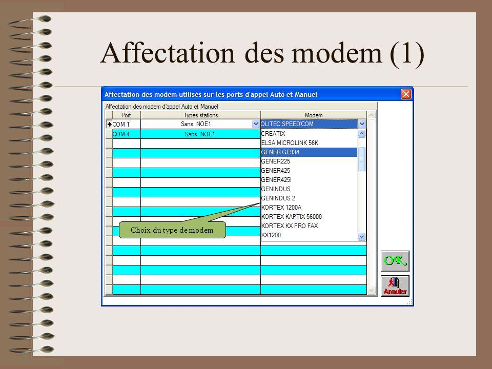 Affectation des modem (1) Choix du type de modem