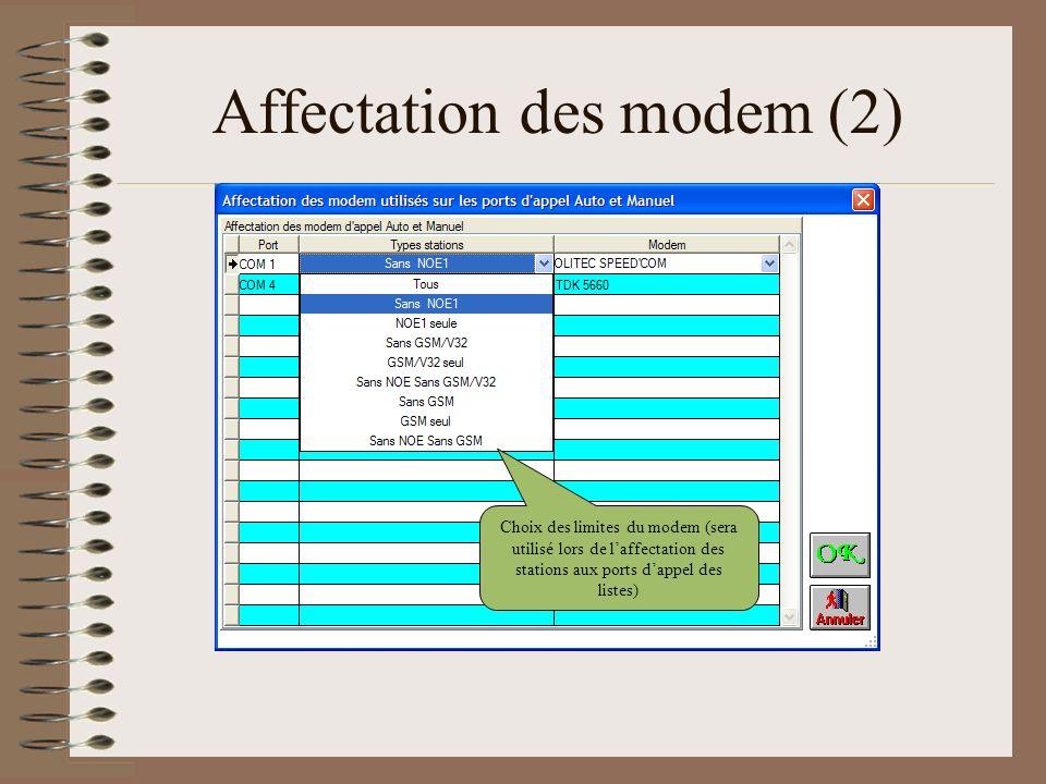 Affectation des modem (2) Choix des limites du modem (sera utilisé lors de laffectation des stations aux ports dappel des listes)