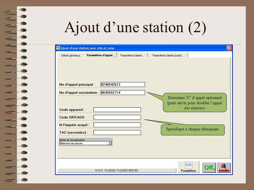 Ajout dune station (2) Spécifique à chaque fabriquant Deuxième N° dappel optionnel (peut servir pour doubler lappel des stations)