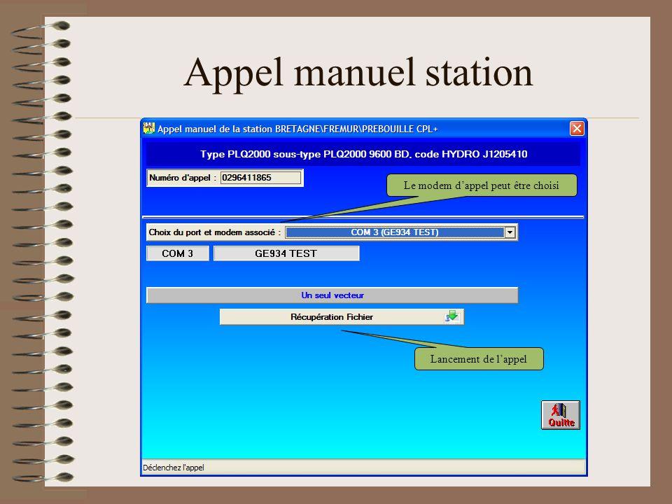 Appel manuel station Lancement de lappel Le modem dappel peut être choisi