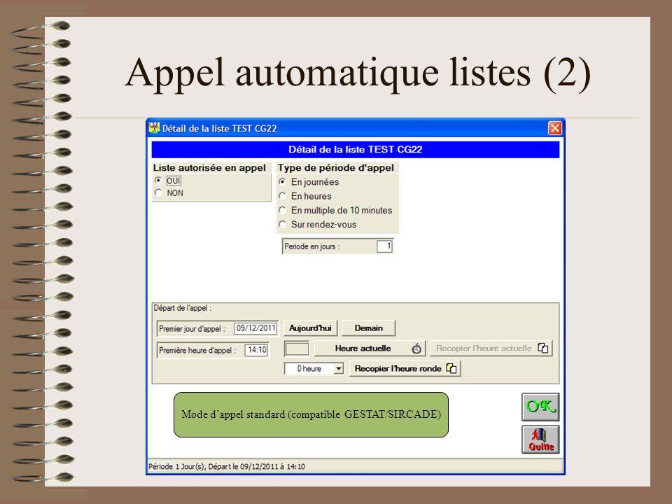Appel automatique listes (2) Mode dappel standard (compatible GESTAT/SIRCADE)