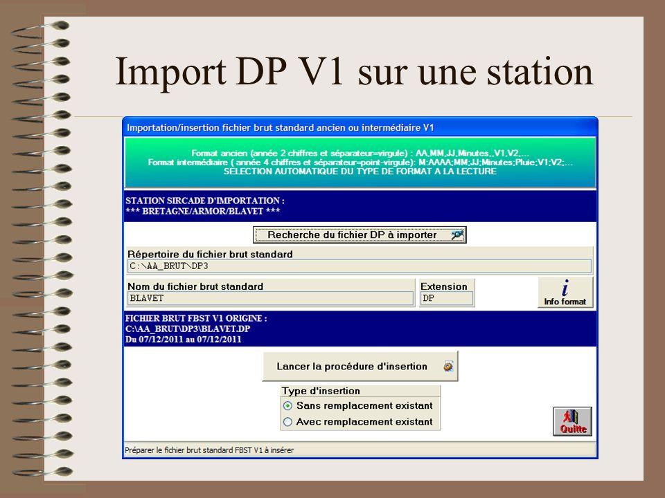 Import DP V1 sur une station