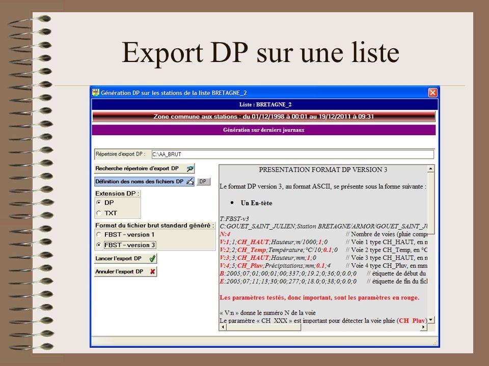 Export DP sur une liste