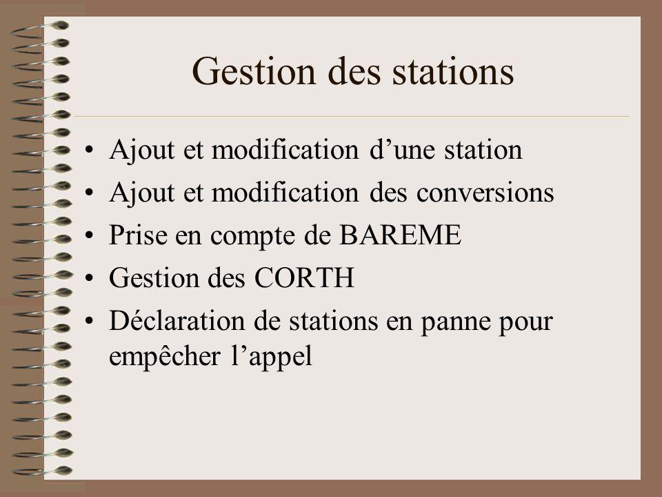 Gestion des stations Ajout et modification dune station Ajout et modification des conversions Prise en compte de BAREME Gestion des CORTH Déclaration