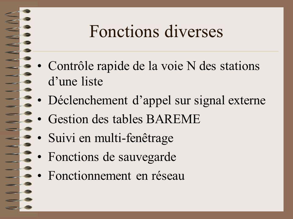 Fonctions diverses Contrôle rapide de la voie N des stations dune liste Déclenchement dappel sur signal externe Gestion des tables BAREME Suivi en mul
