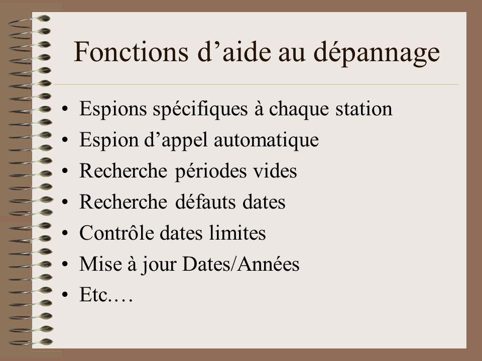 Fonctions daide au dépannage Espions spécifiques à chaque station Espion dappel automatique Recherche périodes vides Recherche défauts dates Contrôle
