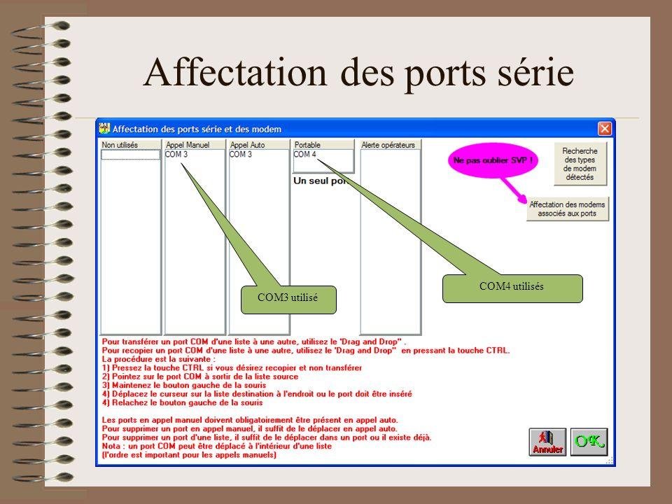 Affectation des ports série COM3 utilisé COM4 utilisés