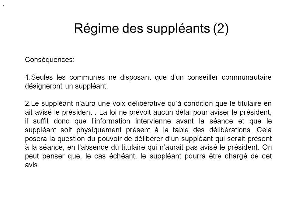 Régime des suppléants (2) Conséquences: 1.Seules les communes ne disposant que dun conseiller communautaire désigneront un suppléant.