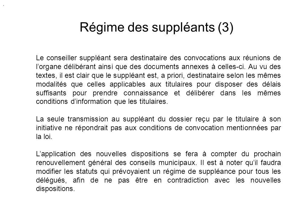 Régime des suppléants (3) Le conseiller suppléant sera destinataire des convocations aux réunions de lorgane délibérant ainsi que des documents annexes à celles-ci.