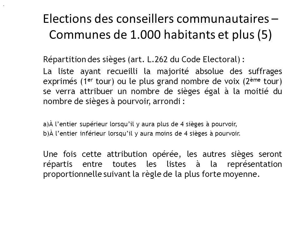 Elections des conseillers communautaires – Communes de 1.000 habitants et plus (5) Répartition des sièges (art.
