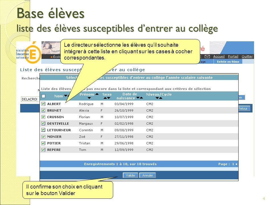 4 Base élèves liste des élèves susceptibles dentrer au collège Le directeur sélectionne les élèves quil souhaite intégrer à cette liste en cliquant su
