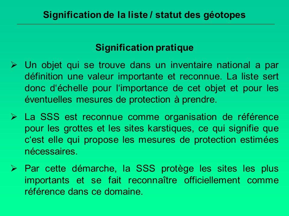 Signification de la liste / statut des géotopes Signification pratique Un objet qui se trouve dans un inventaire national a par définition une valeur importante et reconnue.
