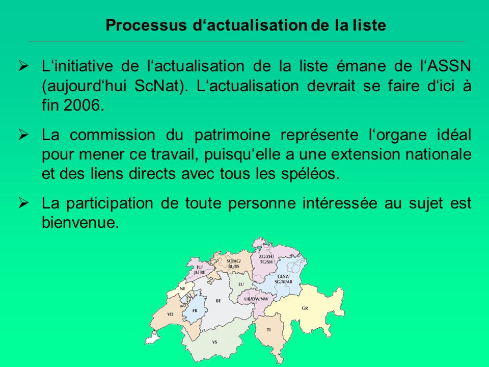 Processus dactualisation de la liste Linitiative de lactualisation de la liste émane de lASSN (aujourdhui ScNat).