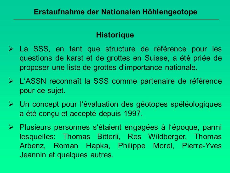 Erstaufnahme der Nationalen Höhlengeotope Historique La SSS, en tant que structure de référence pour les questions de karst et de grottes en Suisse, a été priée de proposer une liste de grottes dimportance nationale.