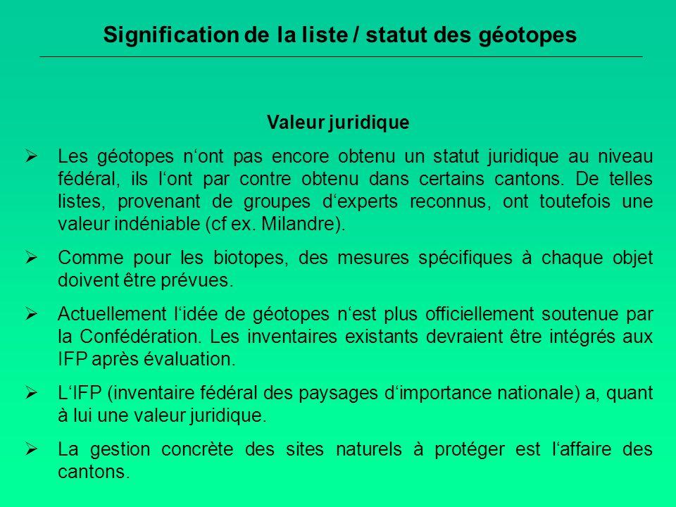 Signification de la liste / statut des géotopes Valeur juridique Les géotopes nont pas encore obtenu un statut juridique au niveau fédéral, ils lont par contre obtenu dans certains cantons.