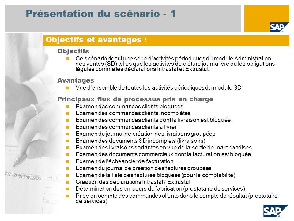 Présentation du scénario - 1 Objectifs Ce scénario décrit une série dactivités périodiques du module Administration des ventes (SD) telles que les activités de clôture journalière ou les obligations légales comme les déclarations Intrastat et Extrastat.