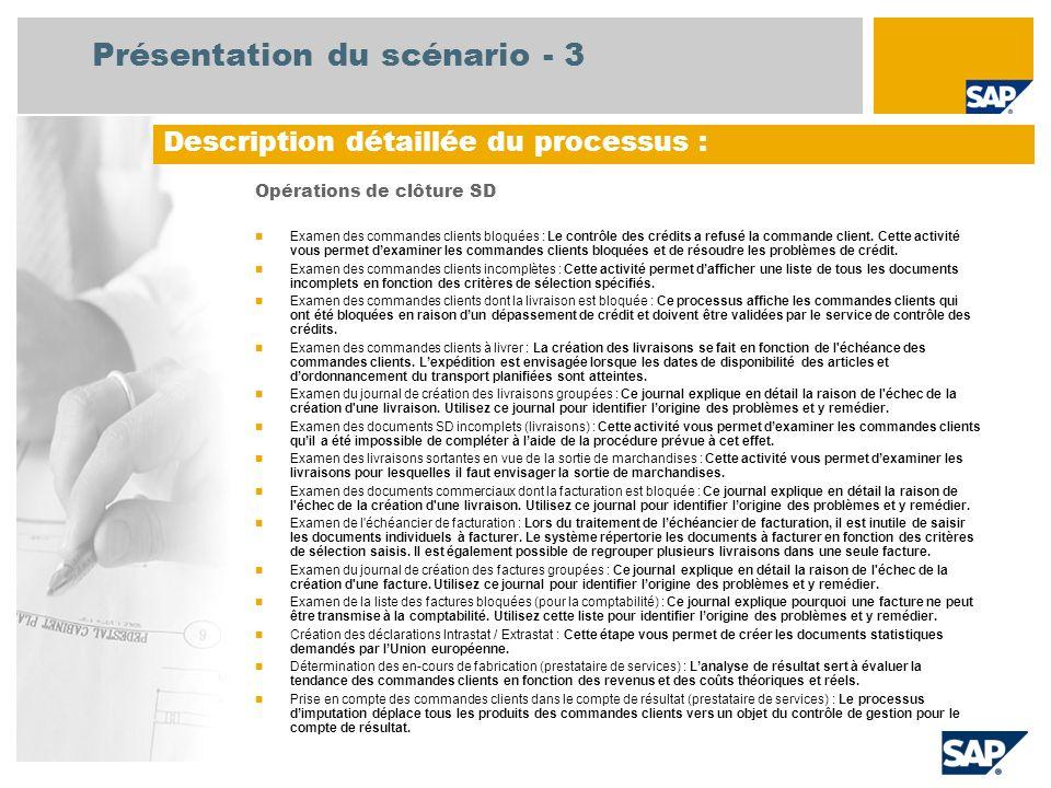 Présentation du scénario - 3 Opérations de clôture SD Examen des commandes clients bloquées : Le contrôle des crédits a refusé la commande client. Cet