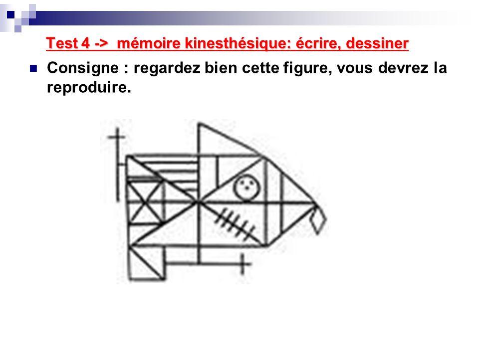 Test 4 -> mémoire kinesthésique: écrire, dessiner Consigne : regardez bien cette figure, vous devrez la reproduire.