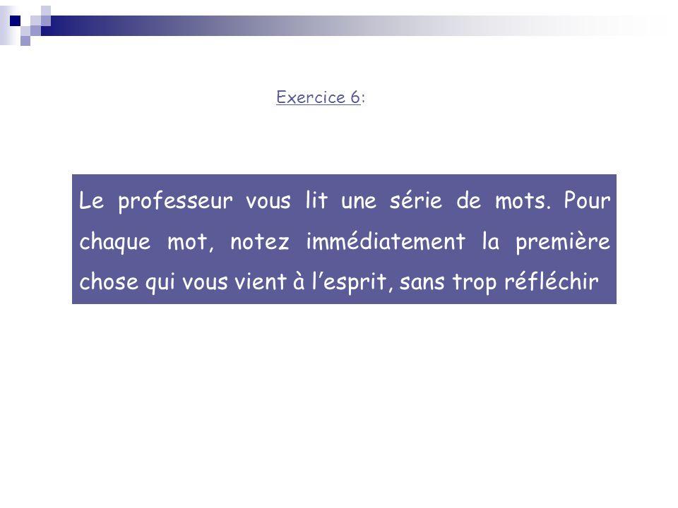 Exercice 6: Le professeur vous lit une série de mots.