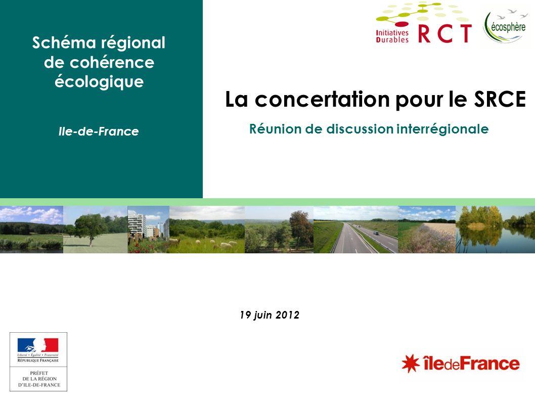Schéma régional de cohérence écologique Ile-de-France La concertation pour le SRCE 19 juin 2012 Réunion de discussion interrégionale