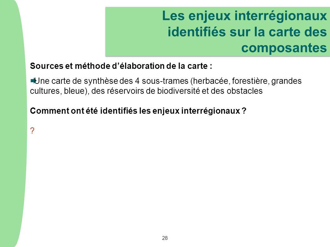 Sources et méthode délaboration de la carte : Une carte de synthèse des 4 sous-trames (herbacée, forestière, grandes cultures, bleue), des réservoirs