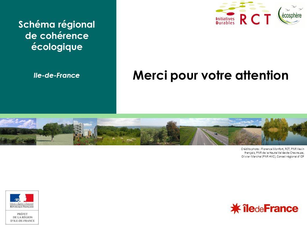 Schéma régional de cohérence écologique Ile-de-France Merci pour votre attention Crédits photo : Florence Monfort, RCT, PNR Vexin français, PNR de la