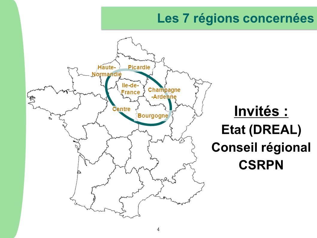 4 Les 7 régions concernées Centre Picardie Haute- Normandie Bourgogne Champagne -Ardenne Ile-de- France Invités : Etat (DREAL) Conseil régional CSRPN