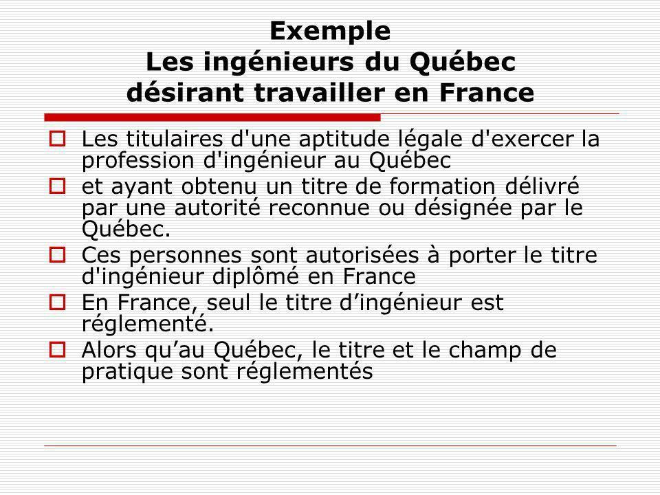 Exemple Les ingénieurs du Québec désirant travailler en France Les titulaires d'une aptitude légale d'exercer la profession d'ingénieur au Québec et a