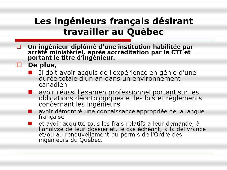 Les ingénieurs français désirant travailler au Québec Un ingénieur diplômé d'une institution habilitée par arrêté ministériel, après accréditation par