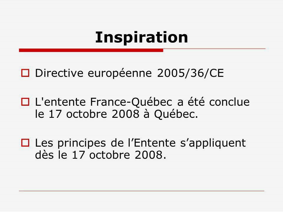 Inspiration Directive européenne 2005/36/CE L'entente France-Québec a été conclue le 17 octobre 2008 à Québec. Les principes de lEntente sappliquent d
