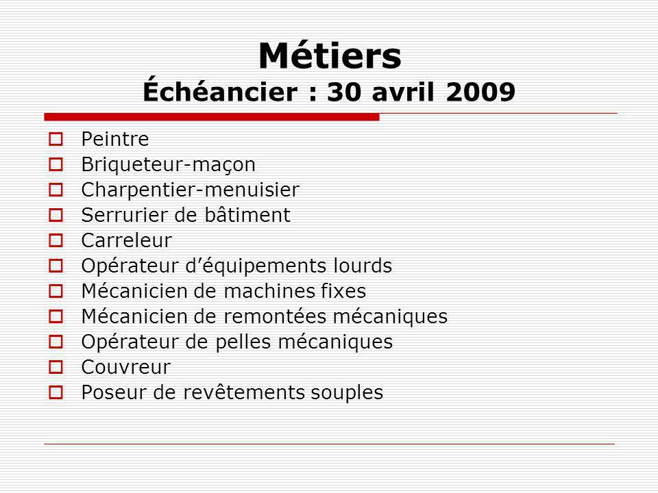 Métiers Échéancier : 30 avril 2009 Peintre Briqueteur-maçon Charpentier-menuisier Serrurier de bâtiment Carreleur Opérateur déquipements lourds Mécani