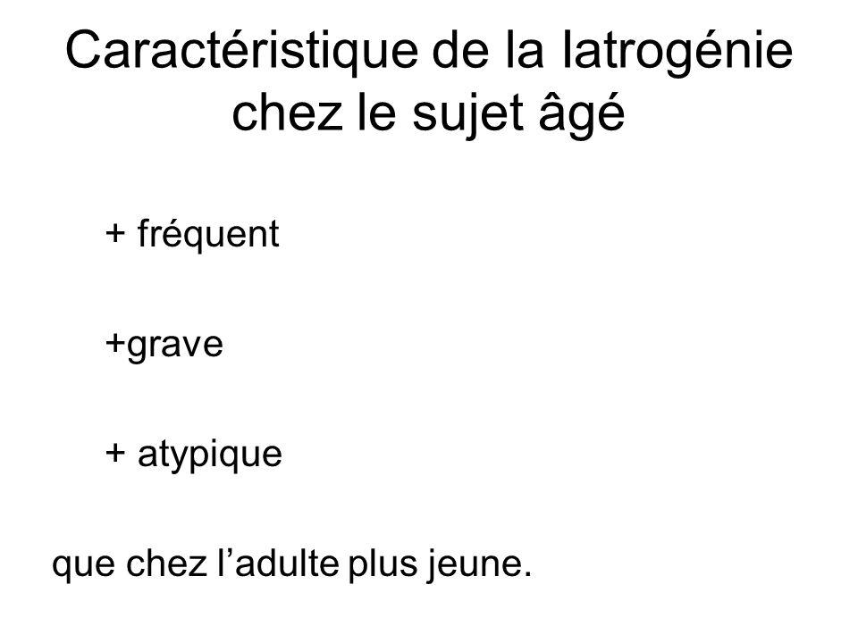 Caractéristique de la Iatrogénie chez le sujet âgé + fréquent +grave + atypique que chez ladulte plus jeune.