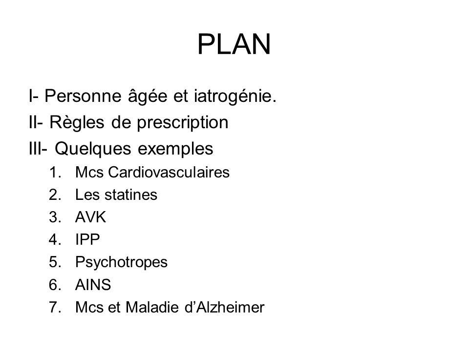 PLAN I- Personne âgée et iatrogénie. II- Règles de prescription III- Quelques exemples 1.Mcs Cardiovasculaires 2.Les statines 3.AVK 4.IPP 5.Psychotrop