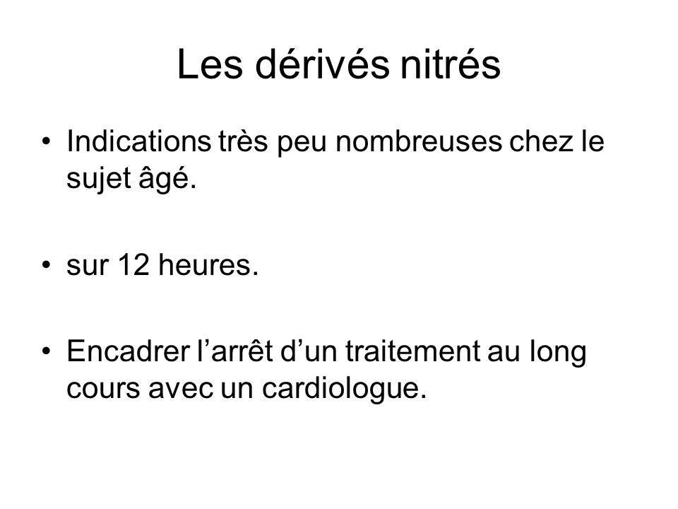 Les dérivés nitrés Indications très peu nombreuses chez le sujet âgé.