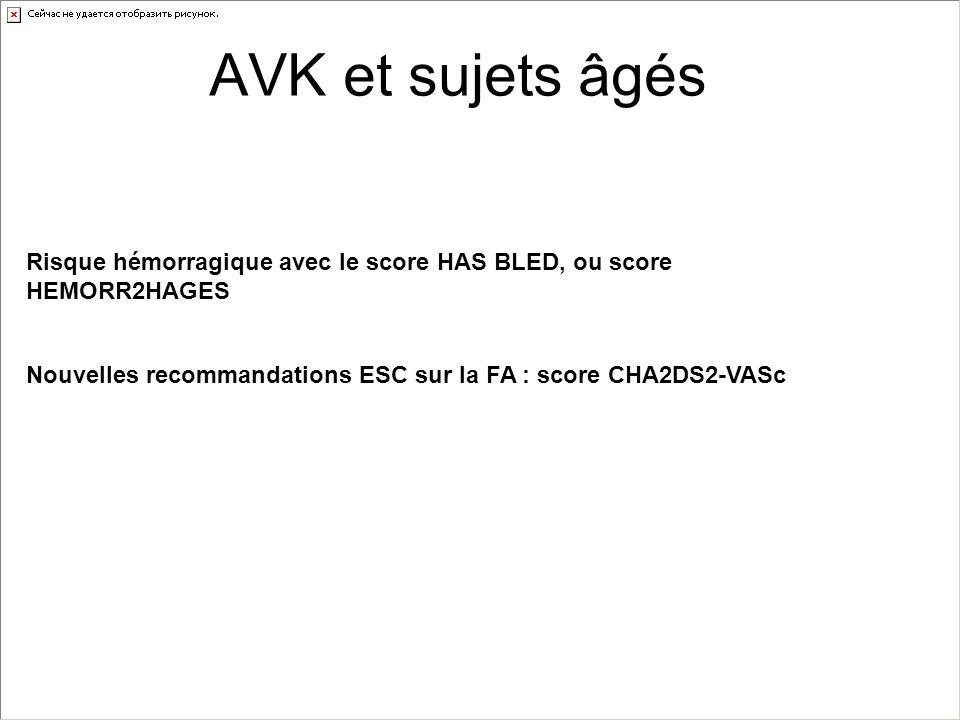 AVK et sujets âgés Risque hémorragique avec le score HAS BLED, ou score HEMORR2HAGES Nouvelles recommandations ESC sur la FA : score CHA2DS2-VASc