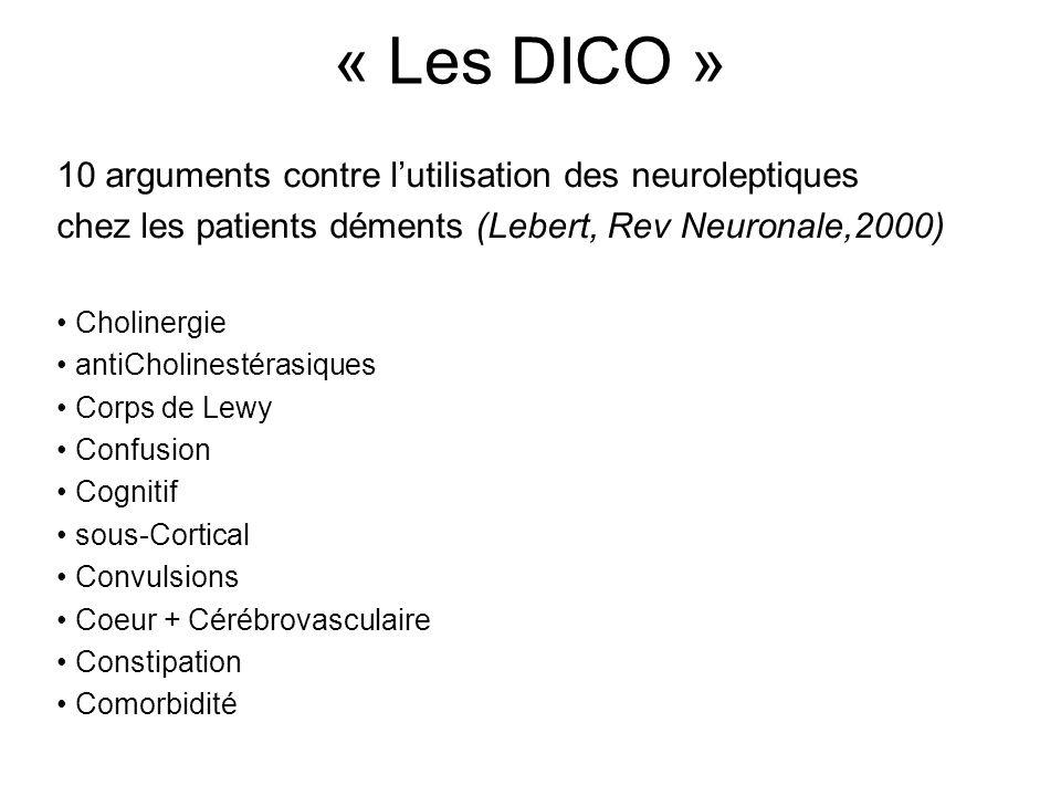 « Les DICO » 10 arguments contre lutilisation des neuroleptiques chez les patients déments (Lebert, Rev Neuronale,2000) Cholinergie antiCholinestérasiques Corps de Lewy Confusion Cognitif sous-Cortical Convulsions Coeur + Cérébrovasculaire Constipation Comorbidité