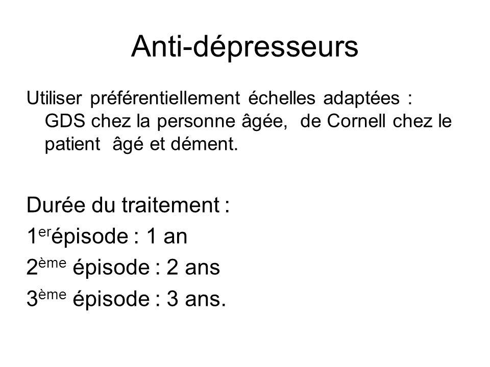 Anti-dépresseurs Utiliser préférentiellement échelles adaptées : GDS chez la personne âgée, de Cornell chez le patient âgé et dément.
