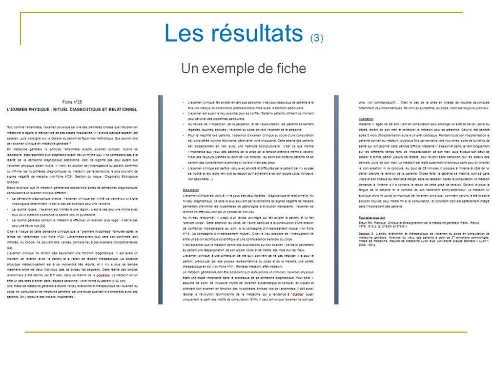 Les résultats (3) Un exemple de fiche