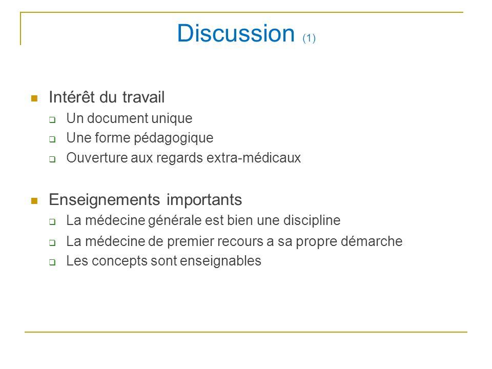 Discussion (1) Intérêt du travail Un document unique Une forme pédagogique Ouverture aux regards extra-médicaux Enseignements importants La médecine g