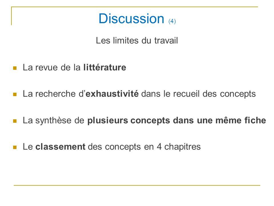 Discussion (4) Les limites du travail La revue de la littérature La recherche dexhaustivité dans le recueil des concepts La synthèse de plusieurs conc