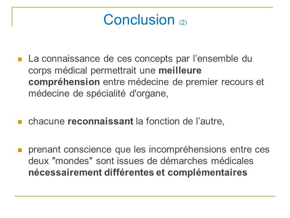 Conclusion (2) La connaissance de ces concepts par lensemble du corps médical permettrait une meilleure compréhension entre médecine de premier recour