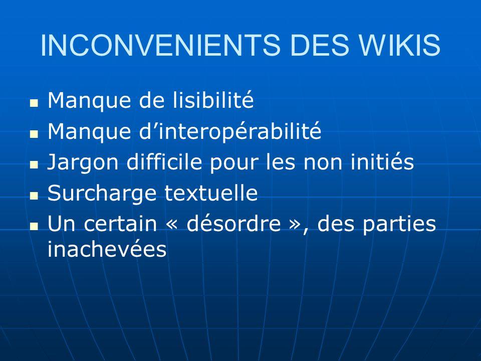 INCONVENIENTS DES WIKIS Manque de lisibilité Manque dinteropérabilité Jargon difficile pour les non initiés Surcharge textuelle Un certain « désordre », des parties inachevées