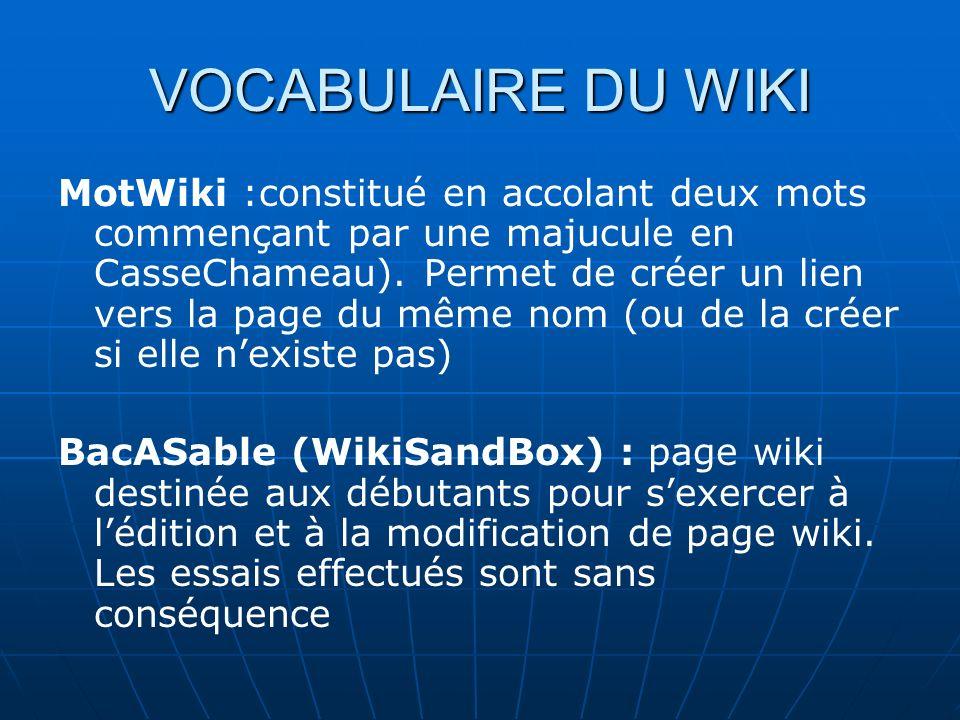 VOCABULAIRE DU WIKI MotWiki :constitué en accolant deux mots commençant par une majucule en CasseChameau).
